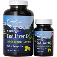 Carlson Labs Carlson Laboratories Bonus Pack Cod Liver Oil Softgels, 1000 mg, Lemon Flavor, 180 Count