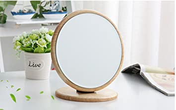 Tlmy miroir en bois simple bureau en bois miroir cosmétique unique