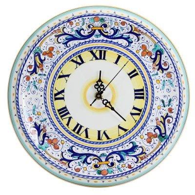 Hand Painted Italian Ceramic 12-inch Round Wall Clock Ricco - Handmade in Deruta