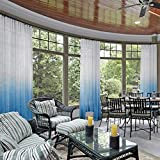 cololeaf Indoor Outdoor Gradient Ombre Sheer Curtain for Patio| Porch| Gazebo| Pergola | Cabana | Dock| Beach Home| Backyard| Country| Garden| Wedding - Pinch Pleat - Blue 52'' W x 102'' L (1 Panel)