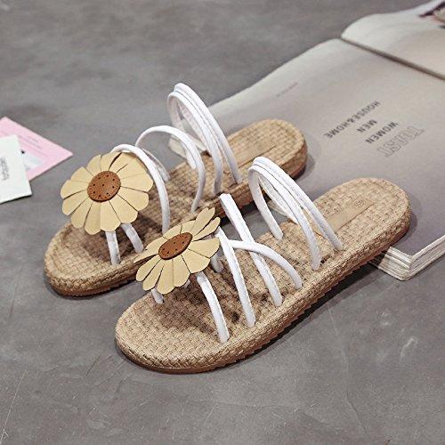 Donyyyy Flip Flops Sandals, antigüedades Crossover, de Fondo Plano, la Imitación de Cabeza Redonda Hembra Tejidos Zapatillas. Thirty-five