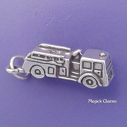 (Sterling Silver 3-D FIRE ENGINE TRUCK Firefighter Charm Pendant - lp1879 Jewelry Making Supply Pendant Bracelet DIY Crafting by Wholesale)