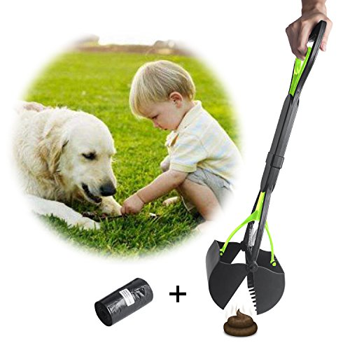 Beinhome Pooper Scoopers 23 inch Long One-Hand Use Foldable Dog Poop Scoop Removal Pet Jaw Scoop Design with Dog Waste Bag, Green