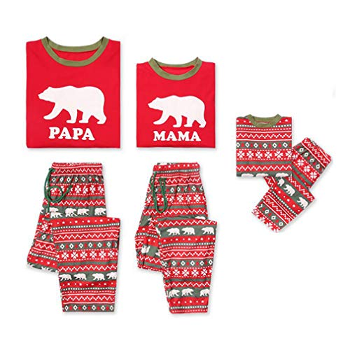 Vestito per padre Bambini la natalizio famiglia abbinamenti orso 2 Pigiameria Rosso Indumenti Simpatico e madre Junkai bambini notte Imposta Pigiama per pezzi la stampato per HUgxq7w