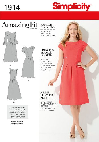 - Simplicity Amazing Fit Pattern 1914 Misses Dress with Individual Pieces Sizes 10-12-14-16-18