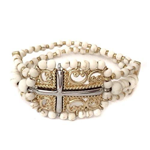 Ivory Stone Beaded Sideways Cross Silver Gold Tone Stretch Bracelet by Gypsy Jewels