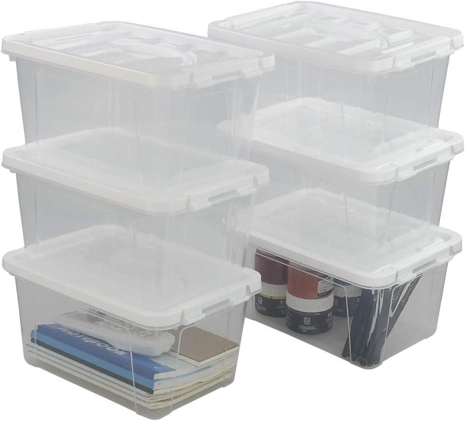 Cajas de pl/ástico con tapa caja de almacenamiento transparente DO Inhouse juego de 6 7,5 litros