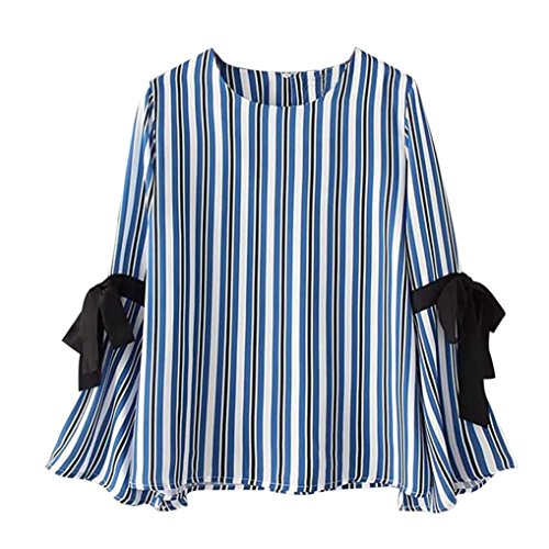 Women Blouse,Haoricu Autumn Elegant Women Stripe Long Sleeve Shirt Casual Tops (M, (Elegant Bustiers)