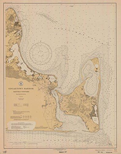 Edgartown Harbor - Map | Edgartown Harbor Marthas Vineyard, 1927 Nautical NOAA Chart | Vintage Wall Art | 24in x 30in