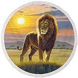Pixels Round Beach Towel With Tassels featuring ''Lion'' by MGL Studio - Chris Hiett
