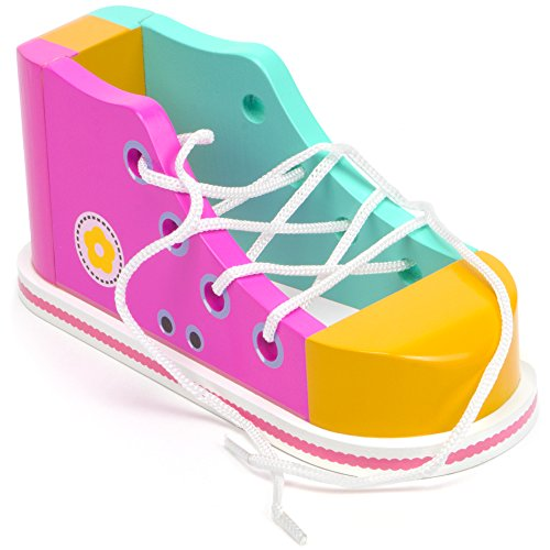 Cool Kicks Pink Lacing Sneaker - Wooden Practice Lace Up Tie Shoe with One Loop Method Instructions by Imagination Generation