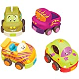 B.Toys 比乐 宝宝回力车 惯性硅胶 耐摔耐啃咬 早教小汽车 卡通车4个装 婴幼儿童益智玩具 礼物 1岁+ BX1048Z