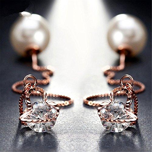 Rose Earrings Nordstrom (Cute Ear Wire Earrings Female Models Long Drop Imitation Pearl Jewelry Dangle Earrings Brincos Dde26 Rose Gold Color 1)