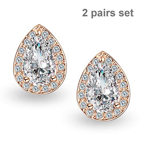 Quinlivan 2 Pairs Premium Halo Stud Earrings Teardrop Cubic Zirconia Earrings Set for Women, Girls (rose gold) ()