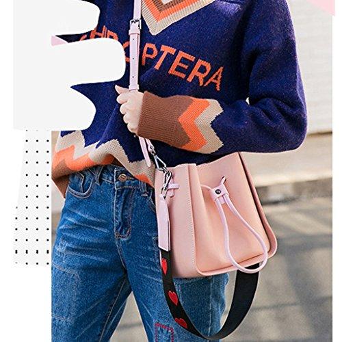 XiaYuan Estupendo Bolso de Fuego, Nuevo Bolso Coreano de la Cadena Crossbody, Bolso del Cubo de la Moda, Bolso de Hombro Pequeño (Color : Beige) Pink