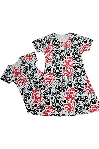 Yming Vêtements De La Famille Robe Chemise Parent-enfant Tenues Maman Et Moi Robe Noir + Blanc Correspondant + Rouge