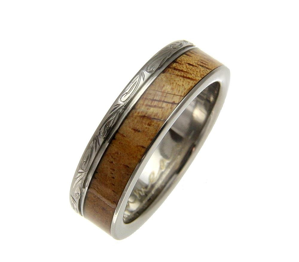 Genuine inlay Hawaiian koa wood wedding band ring titanium scroll 6mm size 8