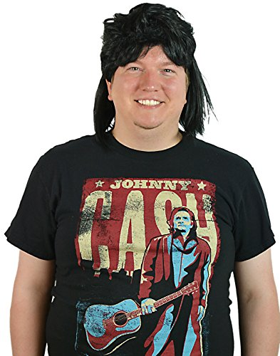 HDE Men's Black Waynes Mullet Wig Adult 80s Hockey Hair Halloween Costume ()