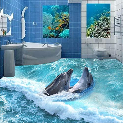 xbwy Customize Photo 3D Floor Wallpaper Self-Adhesive Waterproof Wall Paper Murals Dolphins Frolicking Sea Living Room Floor Backdrop-150X120Cm