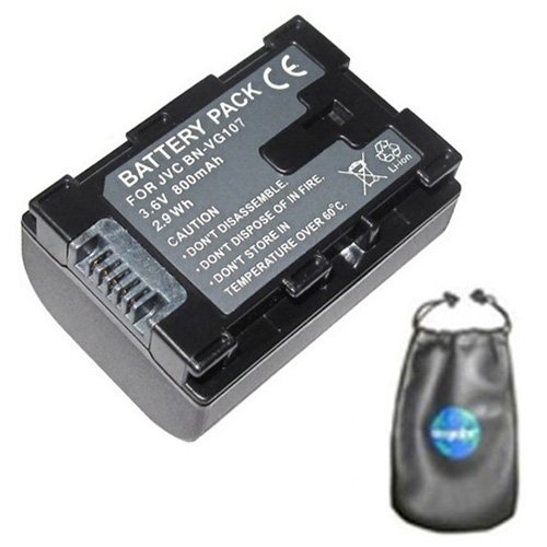 amsahr Digital Replacement Camera and Camcorder Battery for JVC BN: VG107, VG107U, VG107US, VG108, VG108E, VG108U, VG108USM, VG114, VG114US, VG121VG138E, VG138EU - Includes Lens Accessories Pouch by Amsahr