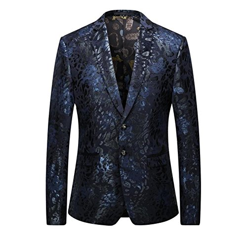 Designer Square Charms (WEEN CHARM Men's Designer Floral Printed Single Breasted Two Button Modern Fit Tux Blazer Jacket Coat)