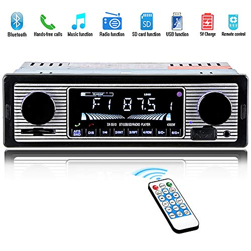 HERCHR Car Stereo for Bluetooth, car Radio Vintage Dual Knob Audio Classic Stereos, USB/SD/MP3/AUX FM WMA/WAV Radio Receiver Hands Free Wireless Remote Control Built-in Microphone, MP3 Player