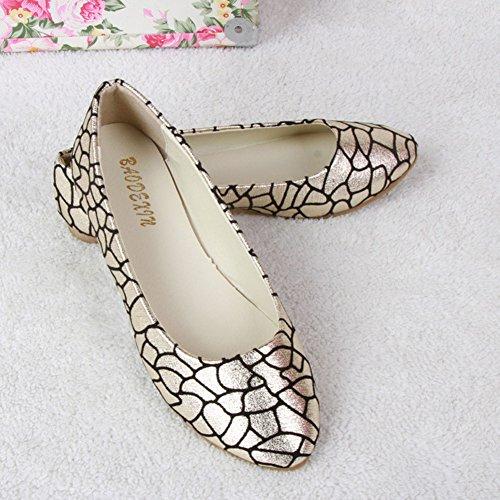 Mode Depolie Été Ballerines Pointue Or Simple Plates Femme De Couleur Brillante Chaussures Y7f6gyvb