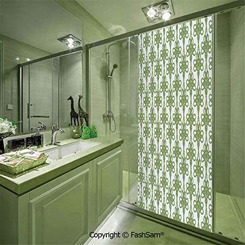 PUTIEN 8536D Privacy Glass Film Entangled Clover Leaves Twigs Celtic Pattern Botanical Filigree Inspired Retro Tile Decorative for Office Home No Glue(W23.6xL47.2)