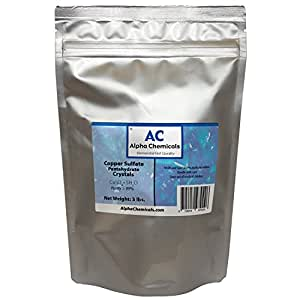 Copper Sulfate Pentahydrarte 99% Crystals 3 lb bag