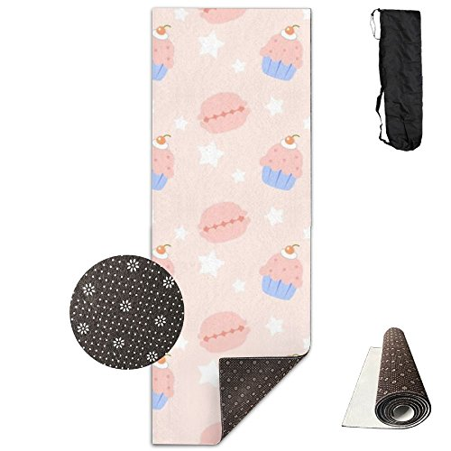 V5DGFJH.B Yoga Mat With Carrying Bag Cherru Orange Cupcake Fitness High Density Anti-Tear Exercise Gym Mat For Exercise,Pilates ()