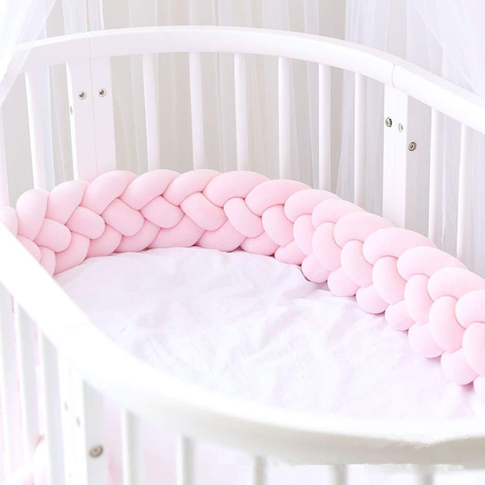 Size : 100CM ZIYEYE Cuna Trenzada Parachoques Cuna para beb/és Parachoques Anudado Trenzado de Felpa Guarder/ía para reci/én Nacidos Cama Dormir Parachoques Rosa