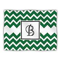 Kess InHouse KESS Original 'Monogram Chevron Green Letter B' Dog Blanket, 40 by 30-Inch