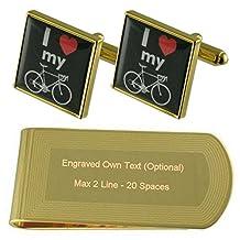 I Love My Bike Sign Gold-tone Cufflinks Money Clip Engraved Gift Set