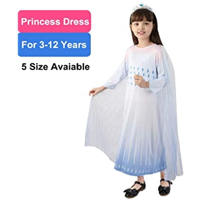 Girls Princess Costume Fancy Party Dress Cute Dress Queen Halloween Cosplay Costume White: Clothing