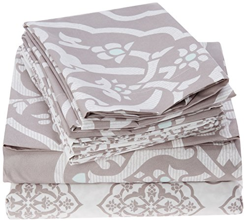 - Chic Home 6 Piece Marquis Two-Tone Medallion Print Pattern Design Queen Sheet Set Grey