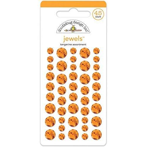 Doodlebug Adhesive Jewels 45/Pkg-Tangerine by Doodlebug