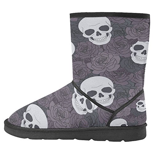 InterestPrint Womens Snow Boots Unique Designed Comfort Winter Boots Skulls and Roses Pattern Multi 1