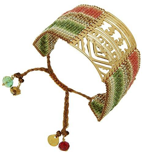 Bracelet manchette perles et plaque ajourée dorée, Africa Savane Mishky