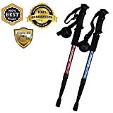Telescopic Hiking Trekking Sticks Poles With Camera Mount Tips Nonskid Shock-Resistant For Wading Nordic Walking Climbing Boulder Backpacking Tent Aluminum Adjustable from 20''/51cm cm to 43''/110cm