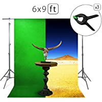 Green Screen Photo Backdrop or Background 6х9 Ft – 100% Cotton Muslin Chromakey Curtain Collapsible Set for Photography Studio Videos Gaming - Bonus 3 Backdrop Clamps & a Carry Bag - MUVR lab