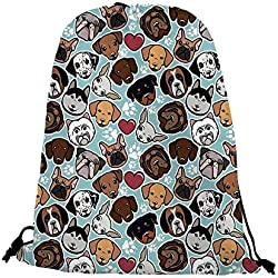 """Dog Lover Nice Drawstring Bag,Canine Breeds Bulldog Chihuahua Siberians and Retriever Love Heart Paw Prints Decorative For traveling,17.7""""L inches x 14.1""""W inches"""