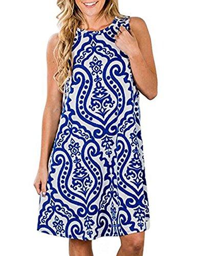 365 Shopping Boho Floral Femmes Plage En Mousseline De Soie Sans Manches Été Imprimé Robes Courtes Bleu D'une Ligne