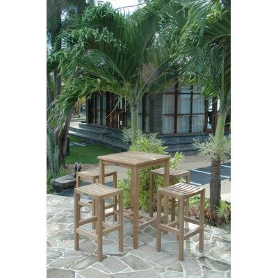 Montego Outdoor Wicker (SET-113B 5-Piece Bar Set with Avalon Square Bar Table and 4 New Montego Backless Bar Chairs)