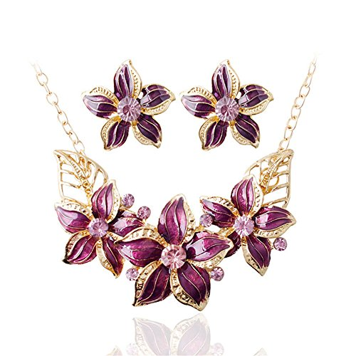 Gold Plated Crystal Chunky Bib Floral Pendant Necklace Earrings Statement Jewelry Set for Women