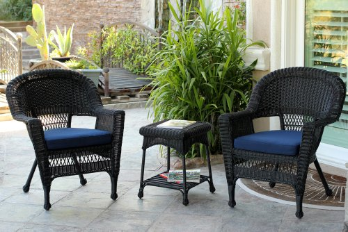 Jeco W00207_2-CES011 3 Piece Wicker Chair End Table Set Blue Cushion, Black from Jeco Inc.