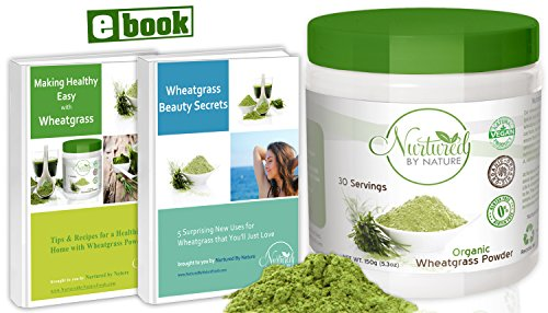 Premium-Organic-Wheatgrass-Powder-USA-Grown-Pure-Whole-Leaf-Superfood-Non-GMO-No-Gluten-Soy-or-Dairy-Vegan-by-Nurtured-by-Nature-30-Servings-eBook-included