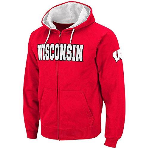 Colosseum Mens Wisconsin Badgers Full Zip Hoodie - M