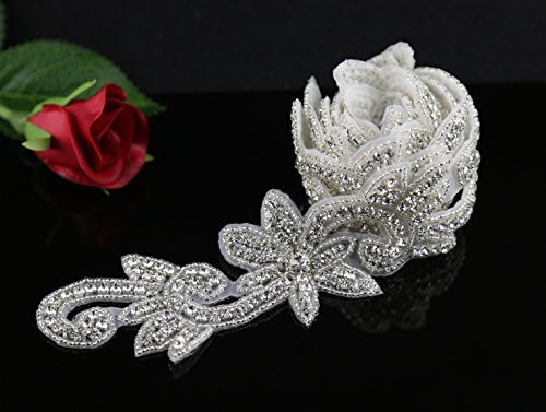 1 Yard Bridal Sash Applique, Wedding Rhinestones Applique, Rhinetones Trim for Dress, ()