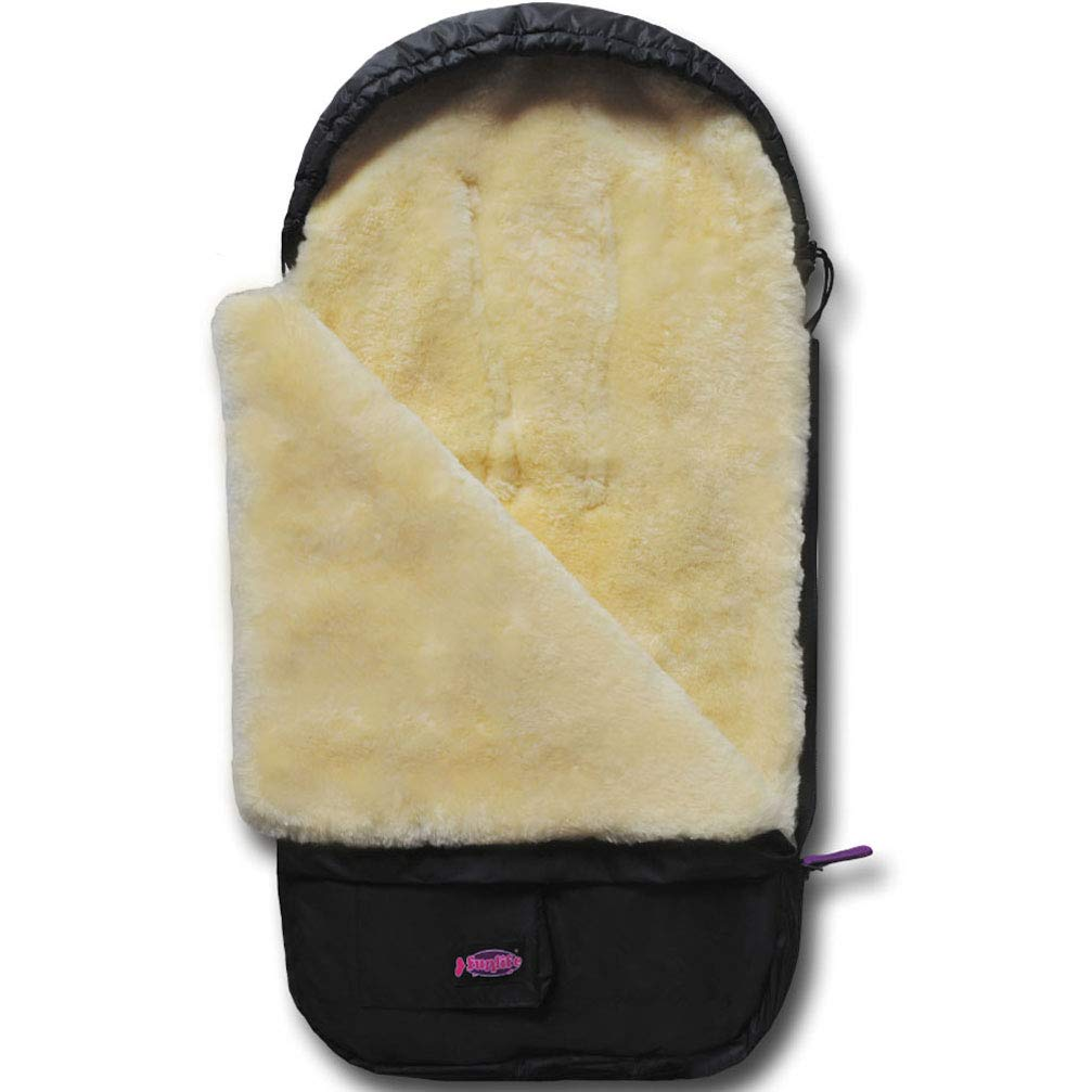 100% Australia Sheepskin Snuggle Pod Baby footmuff for Most of Pushchairs, Strollers, Carseats, Joggers, 0-3 Years Baby Use Funlife