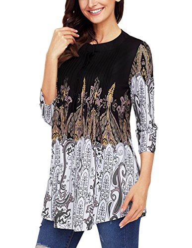 Floral Pleated Blouse - Womens Floral Print Blouse Tops 3/4 Long Sleeves Casual Loose Floral Tunic Button Up Print Shirts